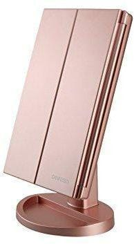 Lighted Vanity Mirror, 21 Super Bright LEDs, Touch Screen Tri-Fold (ROSE GOLD)