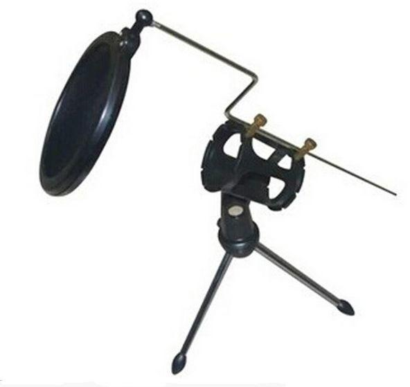 Desktop Microphone Stand Table Mini Mic Clip Tripod Holder with Double-Net Pop Filter - SquareDubai