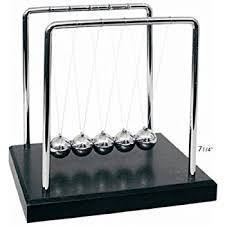 Newtons Cradle Balance Balls wooden base 7 1/4 inch