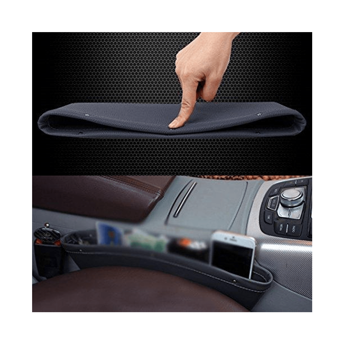 "Car Seat Side Console Slit Caddy PU Leather (1.6"" Gap Fit,) - SquareDubai"