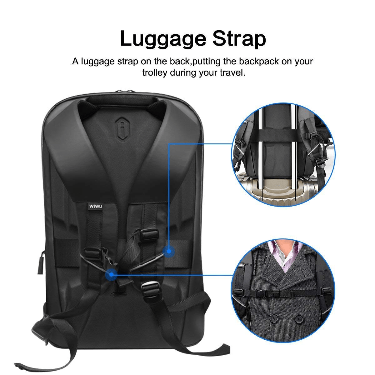 WIWU Business Laptop Backpack 15.6 inch, Anti-Theft Travel Backpack with USB Charging Port