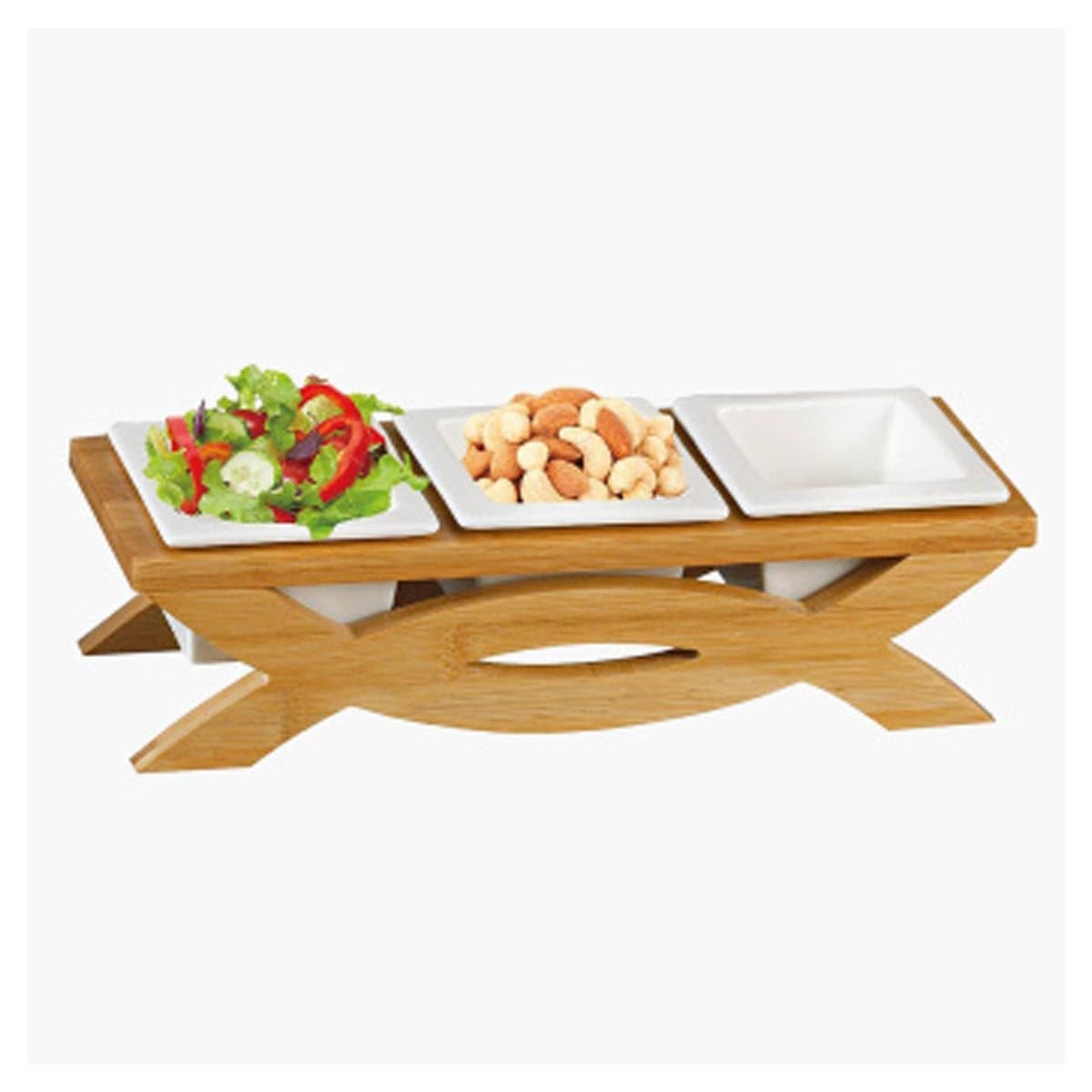 Shallow 3-Compartment Serving Bowl with Stand