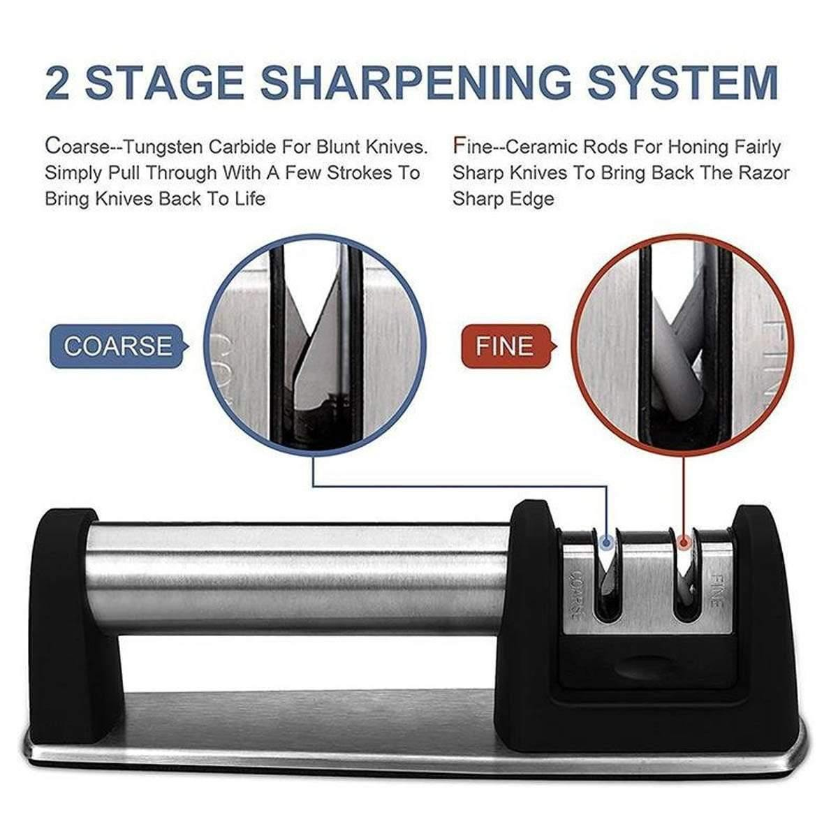 2 Stage  Knife Sharpener Stainless Steel - SnapZapp