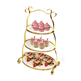 3 Tier Oval Dessert Plate Set with Stand, Gold - SquareDubai