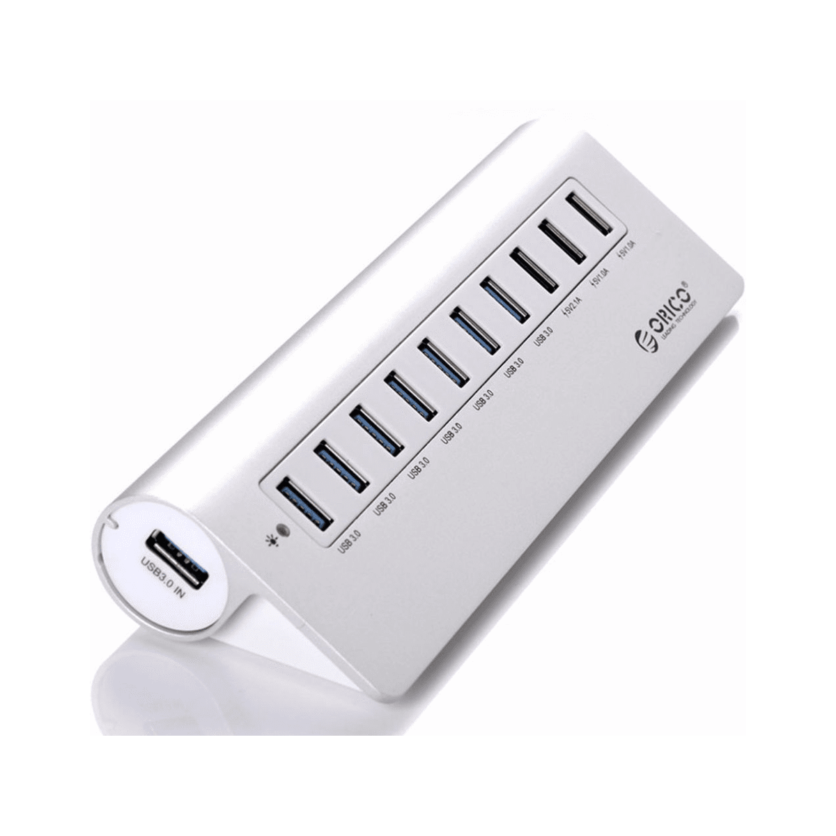 Orico M3h73p Aluminum 7-port Usb3.0 Hub With 3 Charging Port - Silver