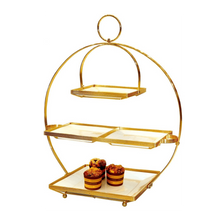 Load image into Gallery viewer, 4 Tier Dessert Plate Set with Stand 19x19cm / 29x29cm, Gold - SquareDubai