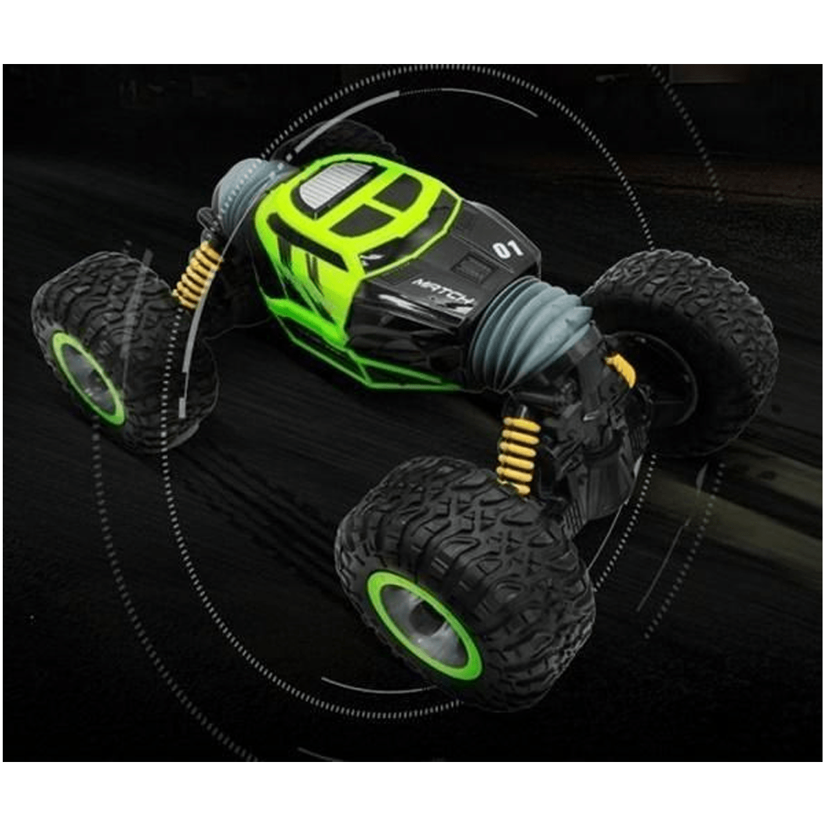 Mytoys All Terrain Car Hyper Actives Stunt Contrl Two Sided Rolling - Green