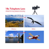 18x Telescope Zoom Mobile Phone Lens  With Tripod - SquareDubai