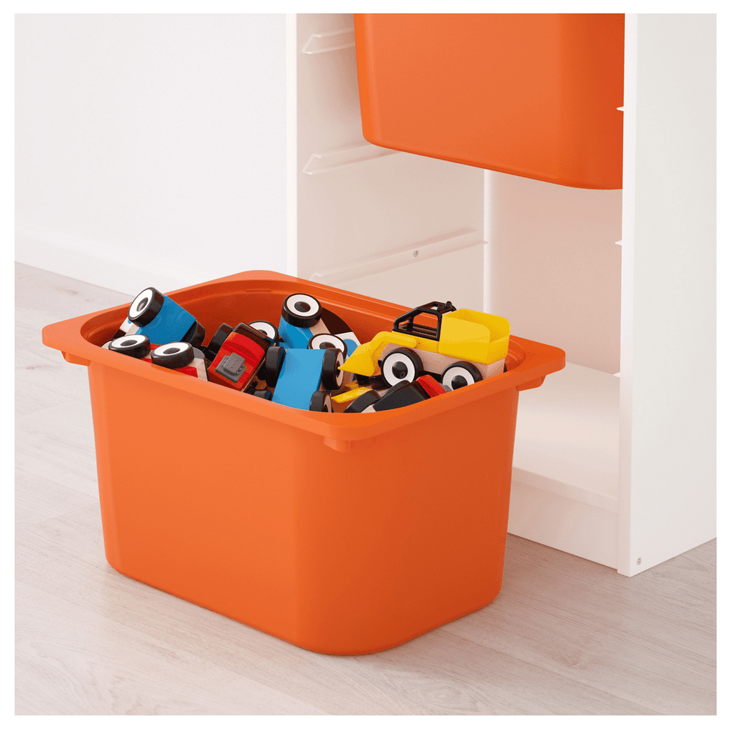 TROFAST Storage combination with boxes, white, yellow orange