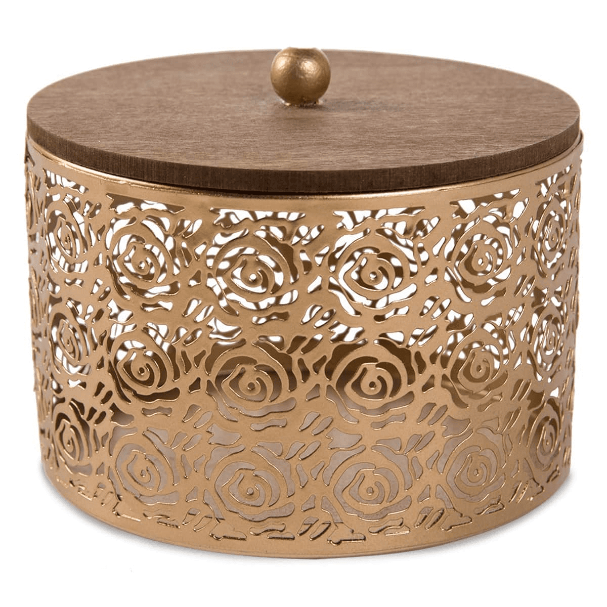 Small Metal Storage Box & Wooden Cover (13.5 x 12 cm, Gold)