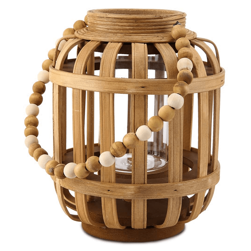 Homeworks Large Wooden Lantern with Beaded Handle