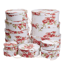 Load image into Gallery viewer, Gift Boxes Round Floral (Set of 12)