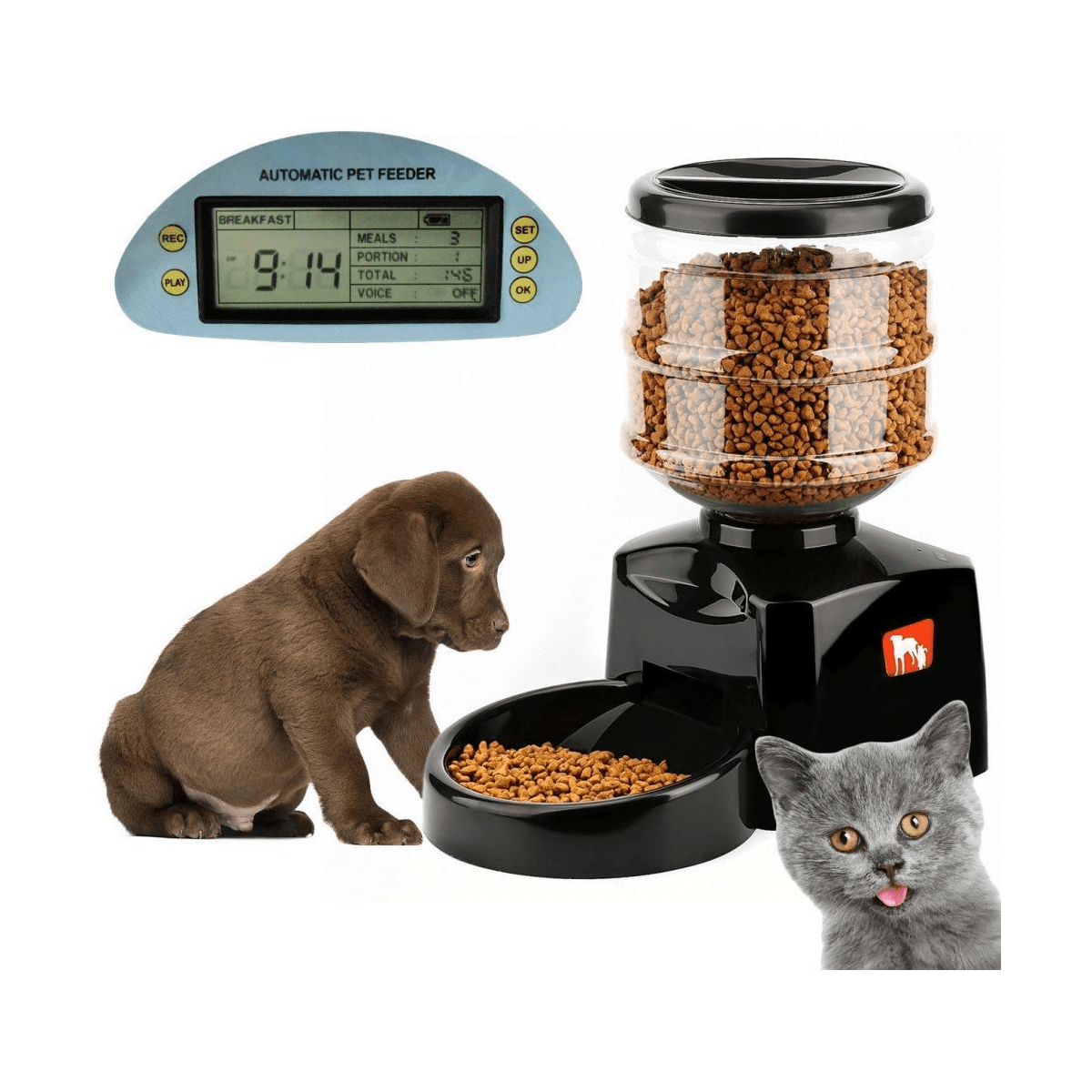 Large Automatic Pet Feeder Dry Food Dispenser Station Programmable Timer with Portion Control