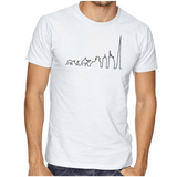 Dubai Skyline Tee White Round Neck T-Shirt For Unisex