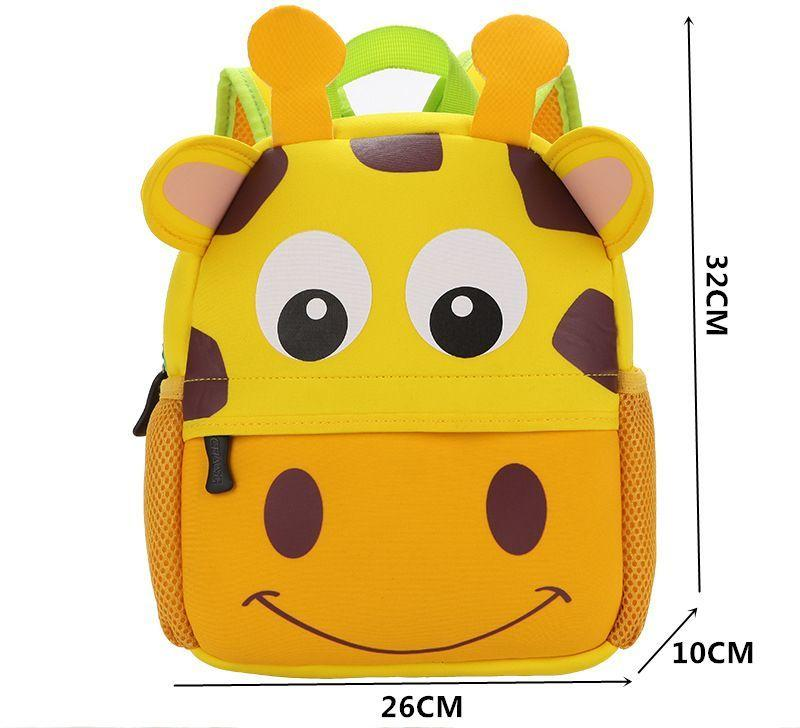 Cute School Bag Kindergarten Backpack Animal Neoprene Multicolor - SquareDubai