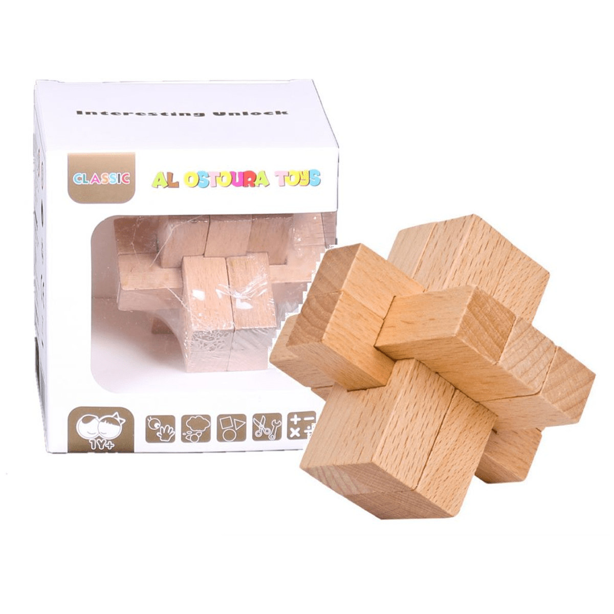 Square Blocks Educational Toys Interesting Unlock Wooden Puzzle