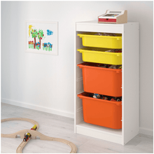 Load image into Gallery viewer, TROFAST Storage combination with boxes, white, yellow orange