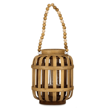Load image into Gallery viewer, Homeworks Large Wooden Lantern with Beaded Handle