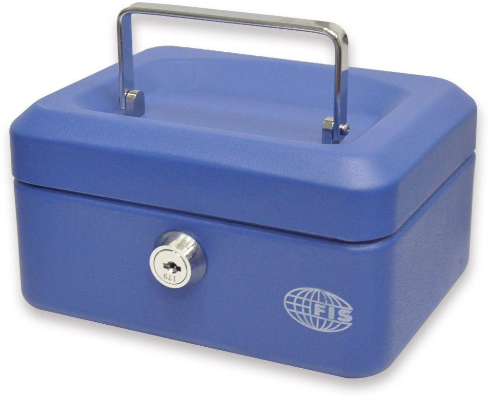 Cash Box Steel Blue Color With key lock, 152 x 115 x 80 mm