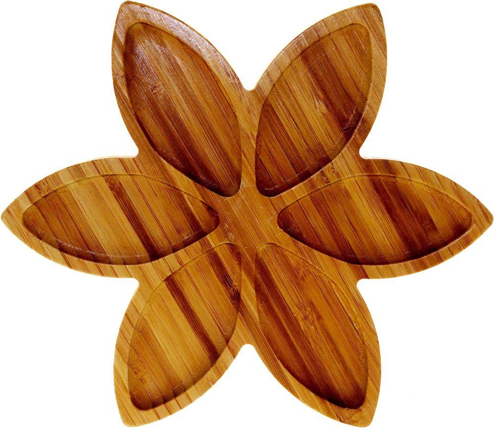 Liying Bamboo Brown Flower Shape Plates & Dishes