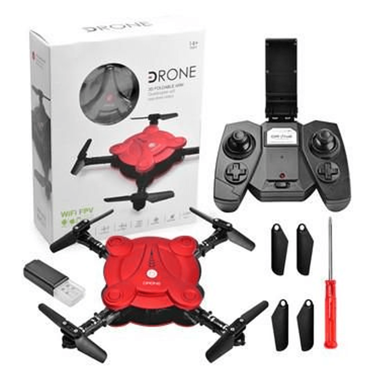 mini rc self portable drone red and black with remote box and tools