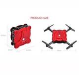 mini rc self portable drone red and black product size