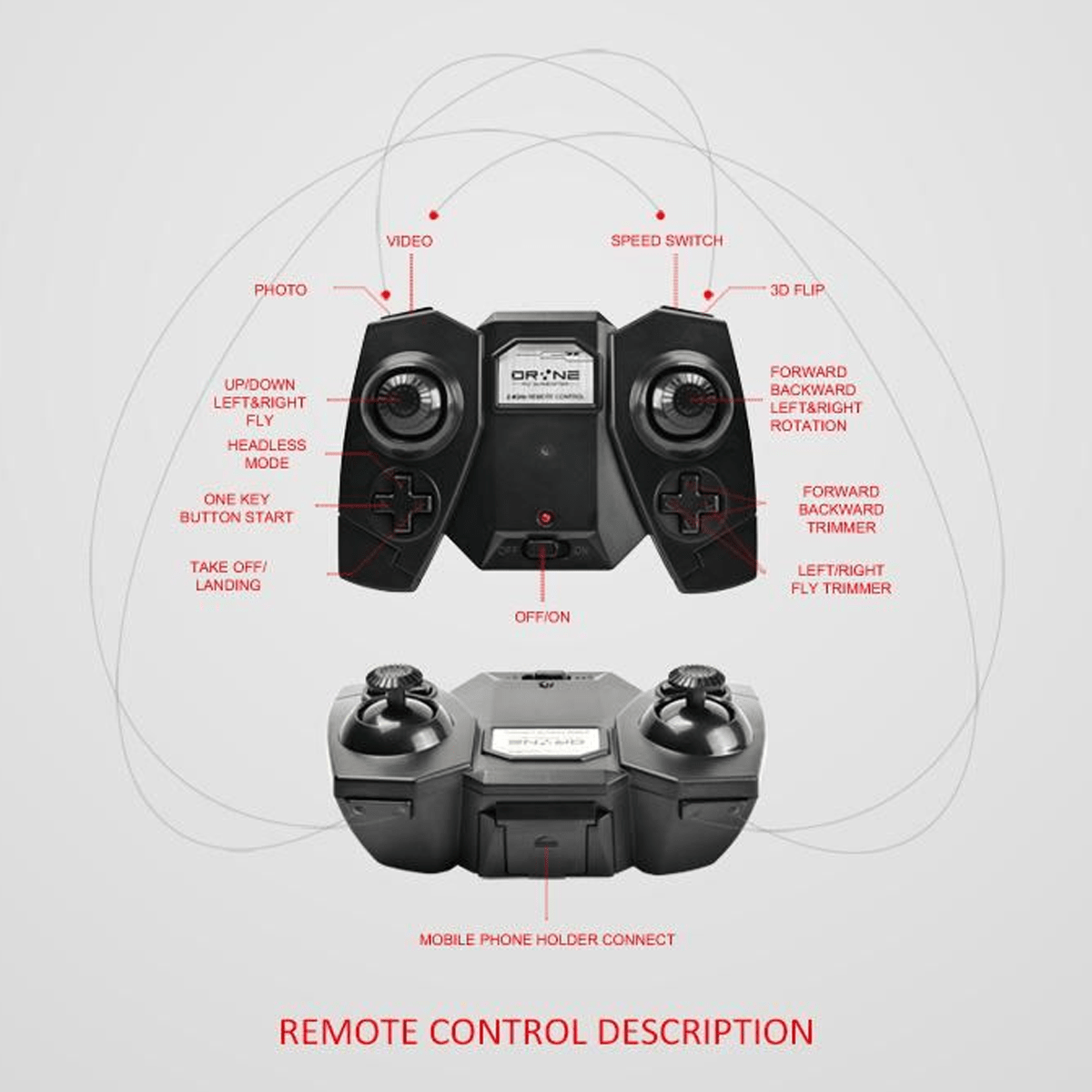 mini rc self portable drone black remote