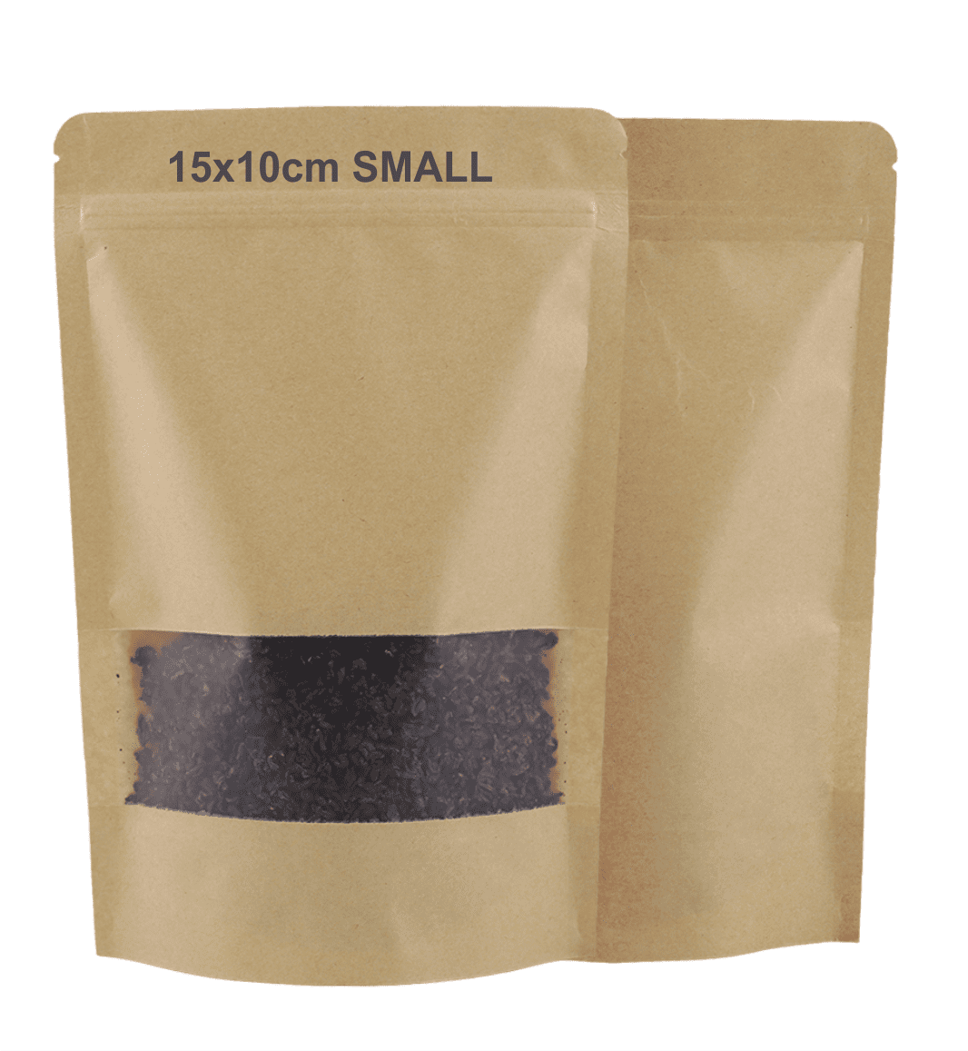 Kraft Paper Bag with Reusable Zip Lock Sealing & Notch Matte Transparent Window (PACK OF 10 PCS)