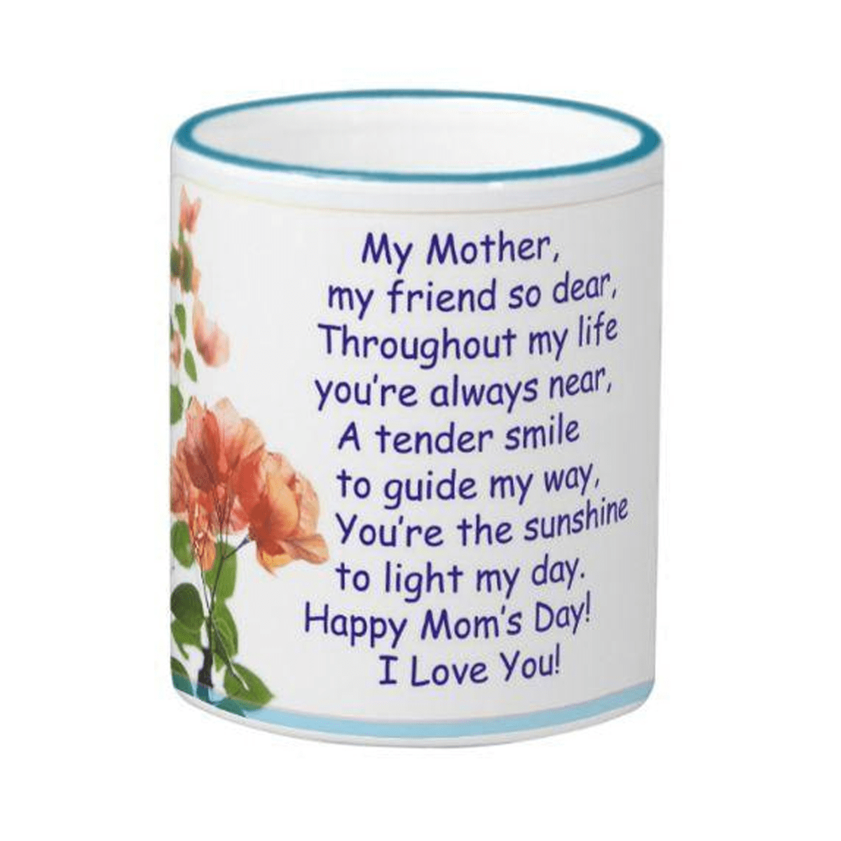 HAPPY MOTHERS DAY Rim Handle Blue Ceramic Mug