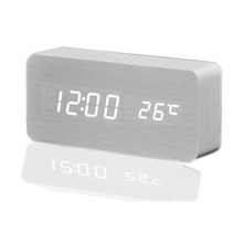 Load image into Gallery viewer, Fashion digital white LED wooden clock white mx1292 - SquareDubai
