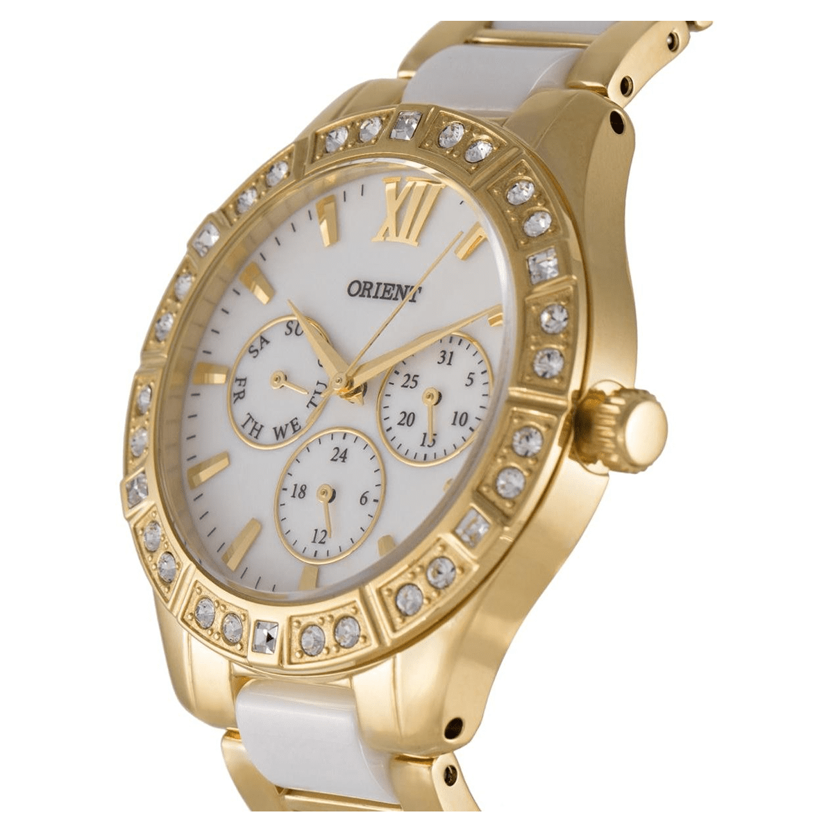 Orient Women's Gold Plated White Dial Ceramic Band Watch - Round - SSW01002