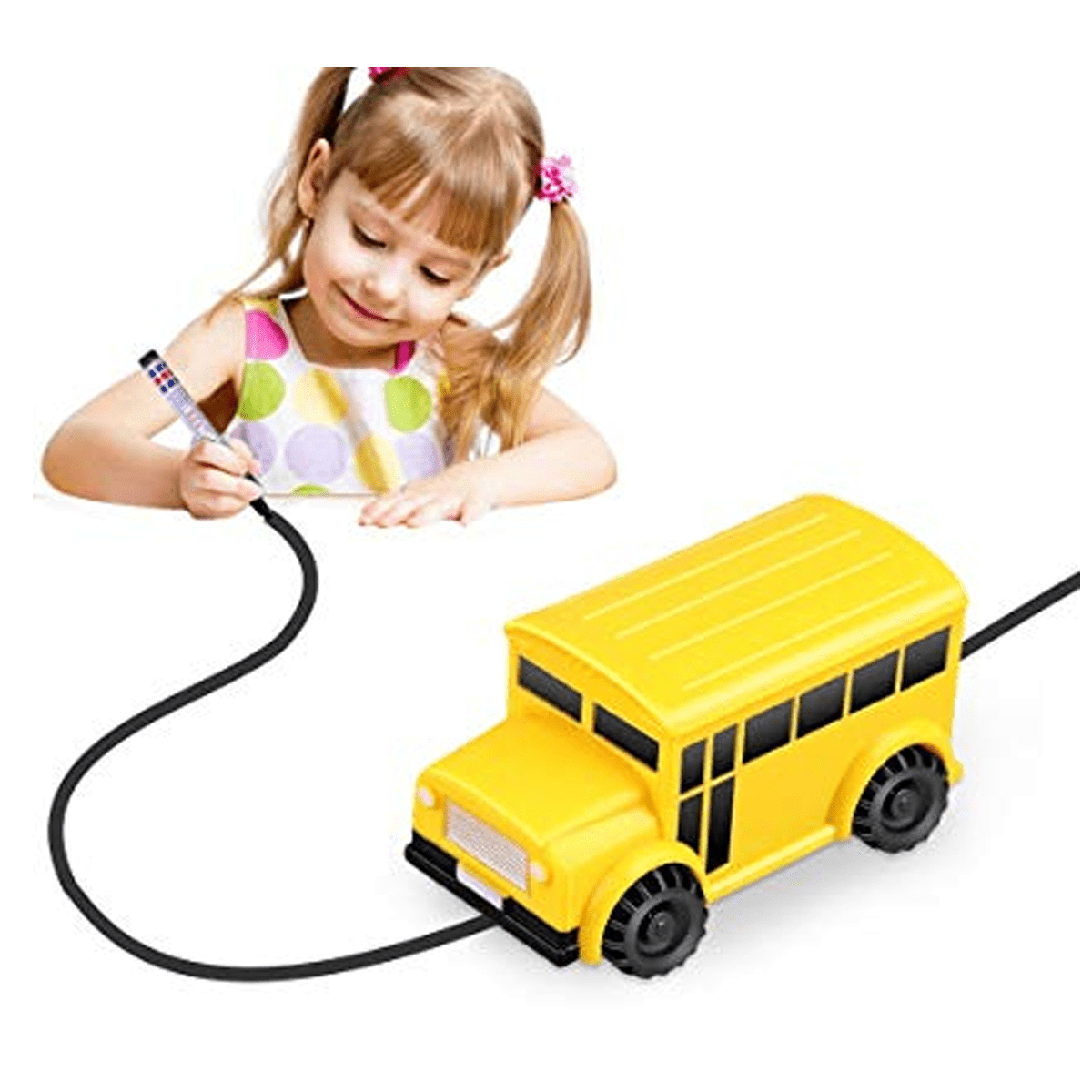 Inductive Train Toy Magic Mini Car Follow Drawn Black Line for Kids (School Bus)