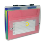 Sliding File With 7 Pockets, Clear Strip Cover, Color Pockets