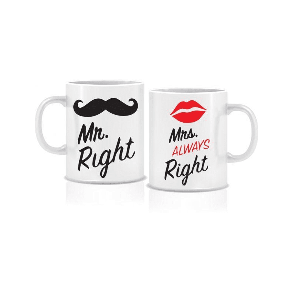 Twinkle Hands - Mr Right Mrs always Right - 2 White Ceramic Mugs