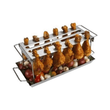 Stainless Steel Grill Wing Rack & Pan (Gray, 2 pc.)