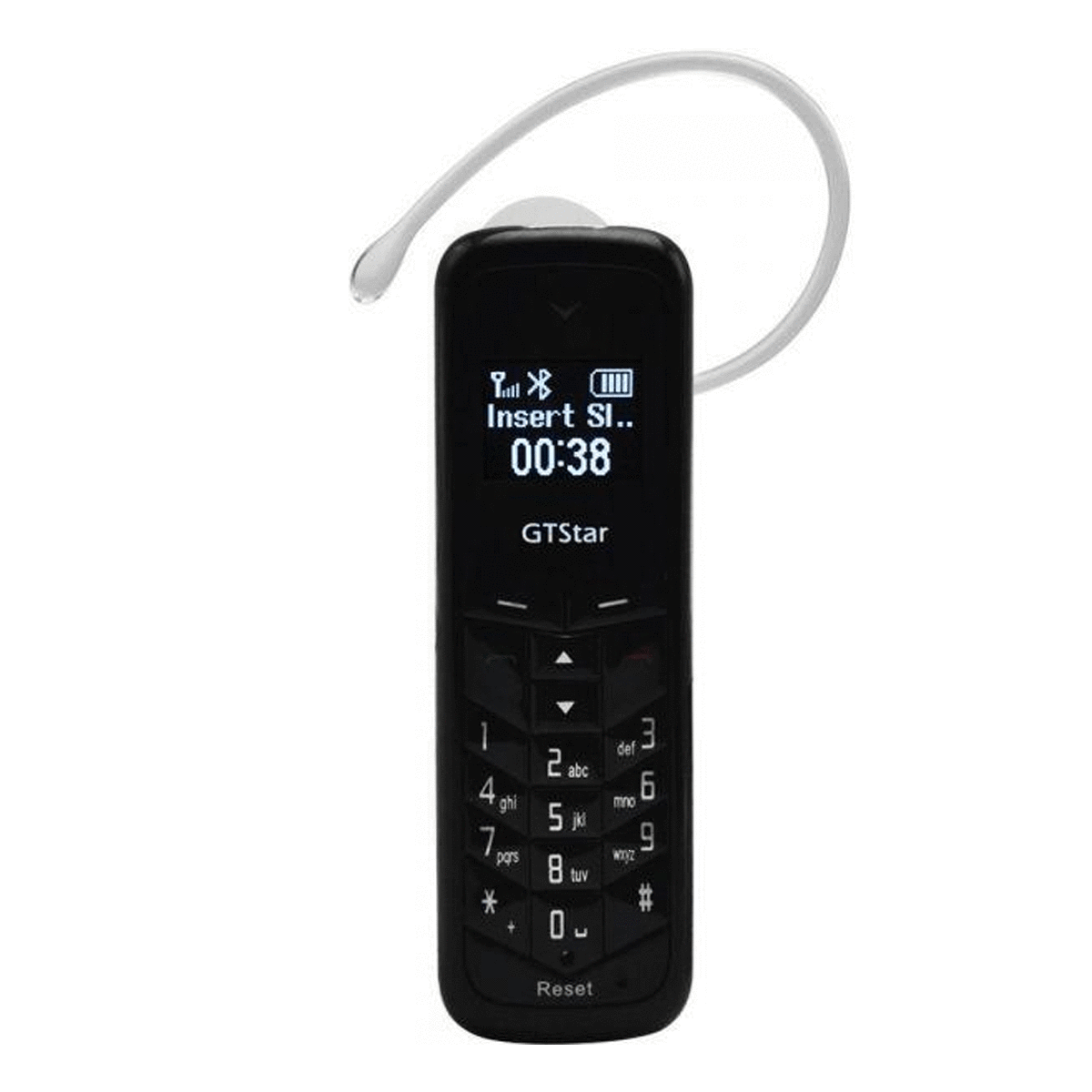Mini black Wireless Handsfree Bluetooth Phone Headset Music Dialer Keys Caller ID LCD