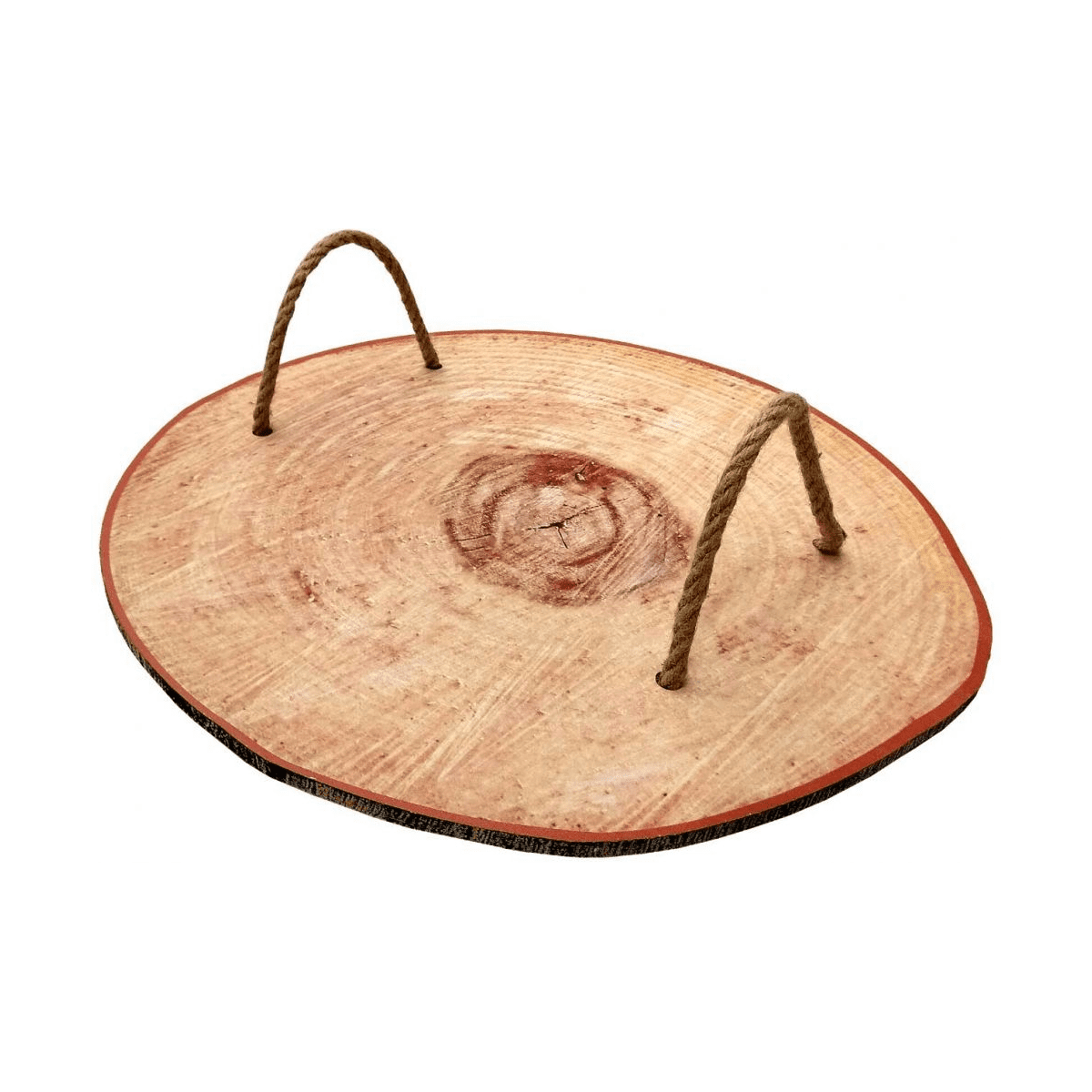 Round Wooden Serving Tray with Rope Handle