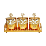 SQUARE Storage Jars and Canister Set with Tray, Gold