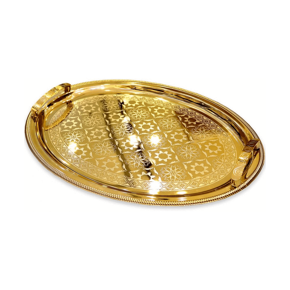 Stainless Steel Oval Serving Tray 39x52cm, Gold