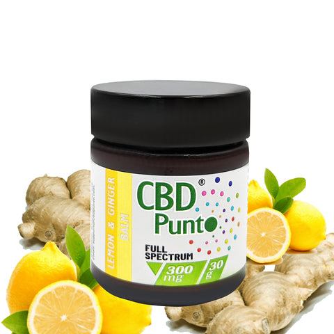 Our CBD Punto Lemon & Ginger Balm contains a whole plant extract which includes CBD and other cannabinoids. This CBD oil is non-psychoactive and the content of THC is tested on every batch to meet specification requirements of less than 1mg per bottle.  Our warming Lemon & Ginger CBD Balm is a fragrant cream that gently nurtures your skin and soothes skin related irritations such as sores and rashes.