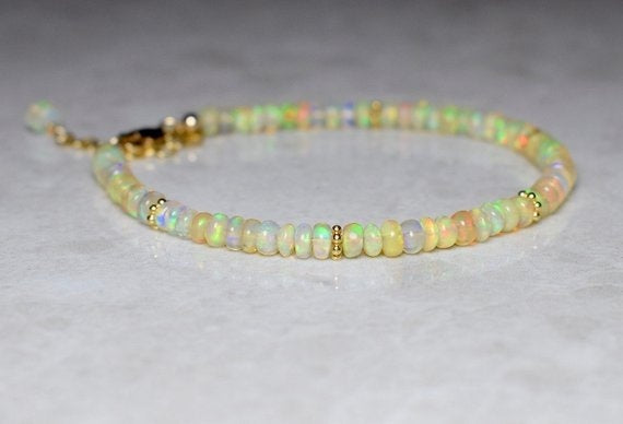 Opal & Gold Bracelet, Ethiopian Opal and 14k Gold Filled Bracelet, Welo Opal Bracelet, Genuine Opal Jewellery, October Birthstone, Wife Gift