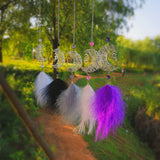 Moon Dream Catcher Feather Dreamcatcher with Night Light Flying Lights Kids Room Wall Hanging Decoration Girls Room Decor