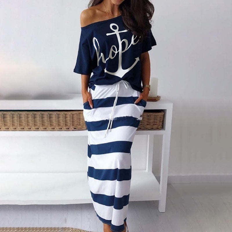 S-3XL Women Fashion Spring Summer Two Piece Set Plus Size Oversized Printed Half Sleeve Top&Maxi Striped Skirt