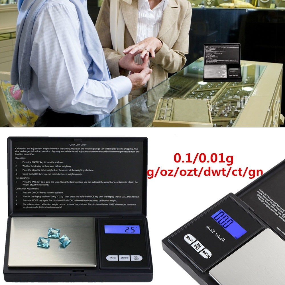 Electronic Digital Pocket Scale 0.1/0.01g Precision Mini Jewelry Weighing Scale Backlight Scales for Kitchen 50/100/200/500g (no nattery)