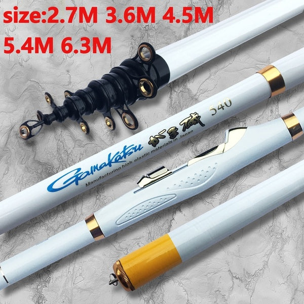 2.7/3.6/4.5/5.4/6.3Meters Hard  Carbon Fiber Telescopic Spinning Fishing Rods Rock Hand Pole Fish Tackle Black/White