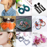 2019 Fashion Acrylic Jewelry Resin Dangle Earrings for Women Geometry Colorful Symmetry Semicircle Big Circle Tortoiseshell Earrings