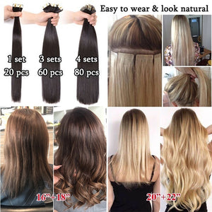 Full Head High Quality Tape In Human Hair Extensions Skin Weft 16'-22' Remy Hair Thick For Women