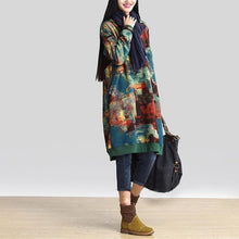 Load image into Gallery viewer, Women Winter Vintage Dress 2019 Autumn Long Sleeve Casual Loose Pockets Print Long Vestidos Robe Femme Plus Size Oversize