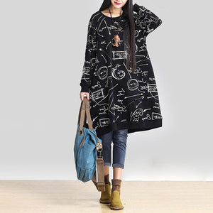 Women Winter Vintage Dress 2019 Autumn Long Sleeve Casual Loose Pockets Print Long Vestidos Robe Femme Plus Size Oversize