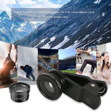 New Arrival Universal 3 in1 Fisheye Wide Angle Macro Camera Lens Kit Clip On for Mobile Cell Phone